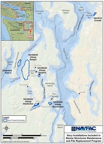 Map of Navy installations included in project