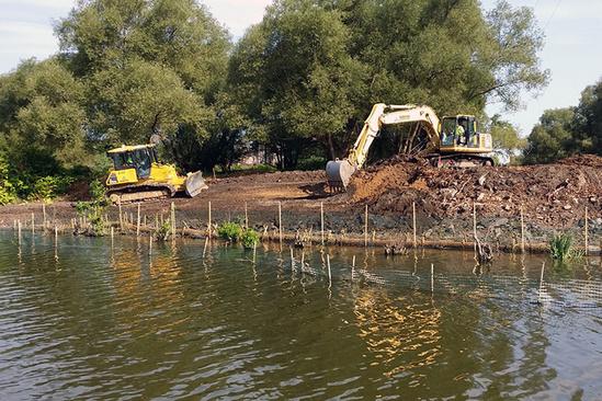 Construction equipment at a habitat restoration site