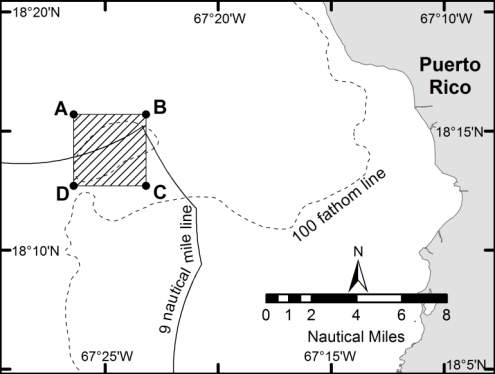 Figure 1. Map showing the Bajo de Sico management area (shaded) off the west coast of Puerto Rico.