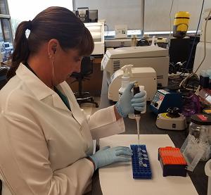 Scientist in a laboratory using equipment.