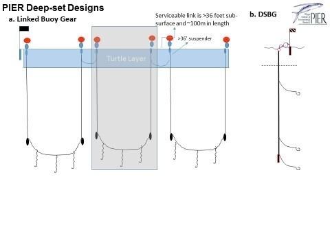 Line illustration on buoy gear types