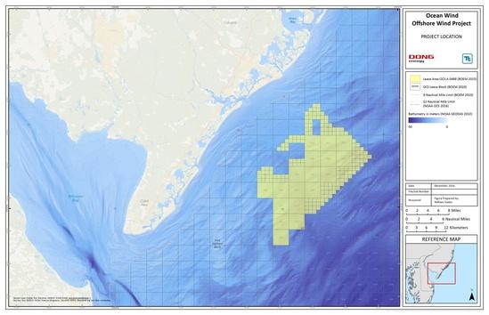 Ocean wind project location map