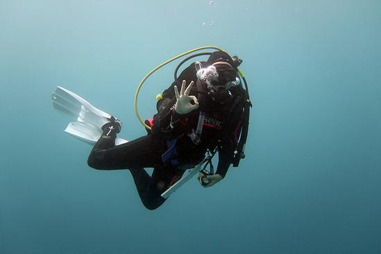 Diver underwater.