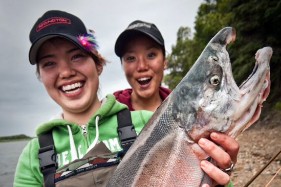 Youth anglers with salmon