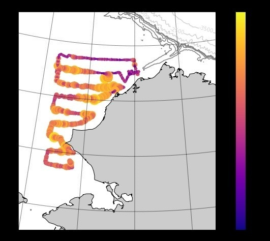 Map of the fish echoes in the Chukchi Sea during the first pass starting in mid-July.