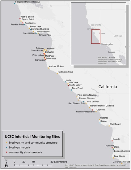 Map of monitoring sites in central California