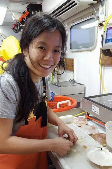 Scientist shucks sea scallops in a lab on a research vessel.