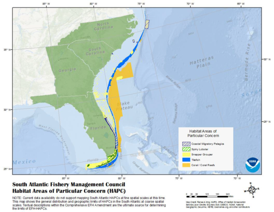 Map of Southeast United States displaying Habitat Areas of Particular Concern