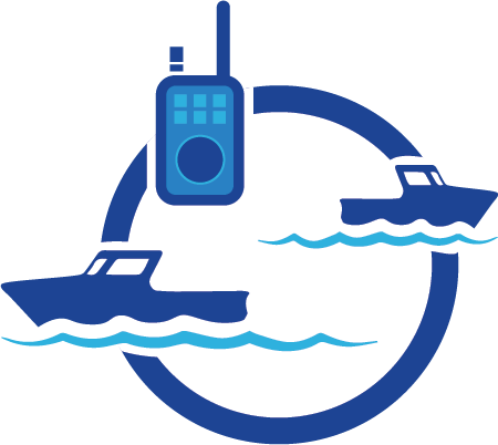 two boats and a handheld radio icon