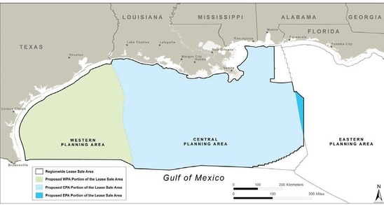 BOEM Gulf of mexico Planning Areas and proposed lease Sale Areas