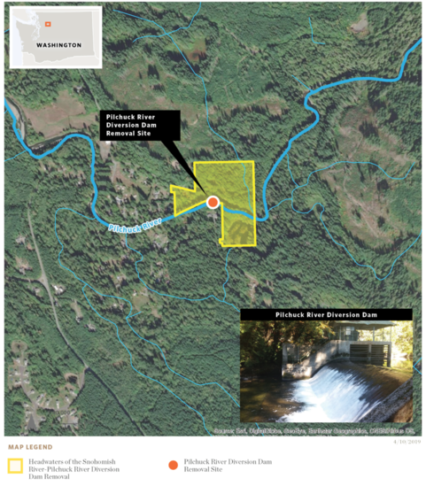 Map showing the location of the Pilchuck River Dam