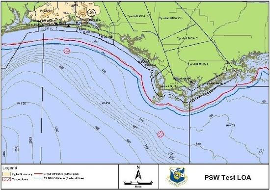 Map of PSW target locations in EGTTR