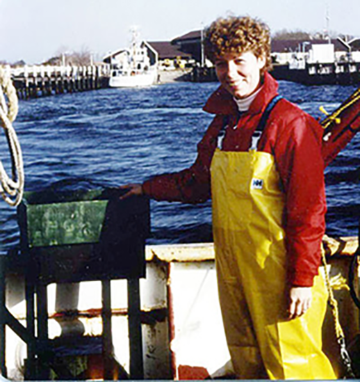 Beth Phelan on research vessel in 1985