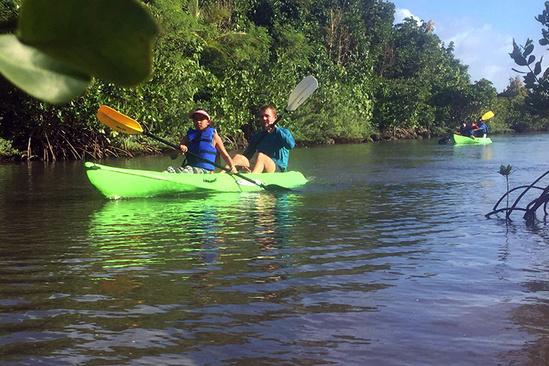 Kayak tour outreach activities.