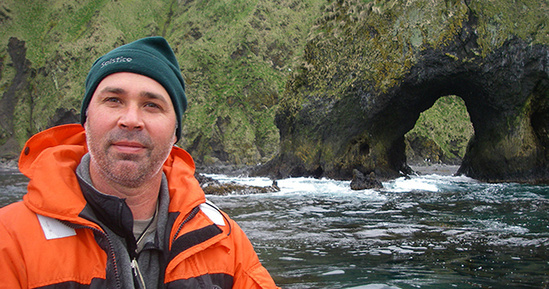 Dr. Sterling on Alaskan coastline