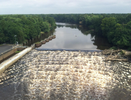 An aerial view of the Cape Fear Rapids in North Carolina. Credit: The Nature Conservancy
