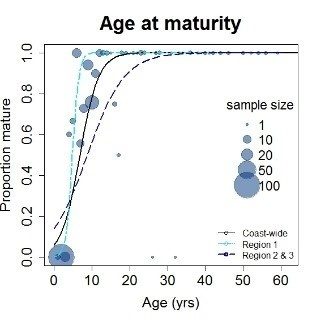 graph showing age in years graphed against maturity, showing a steeply increasing curve at 0-10 years before the curve flattens out at 20-60 years.