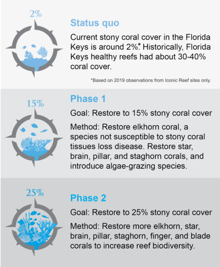 Graphic depicting phases of Mission Iconic Reefs