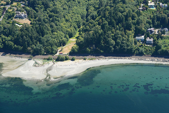 Aerial photo of a shoreline and estuary