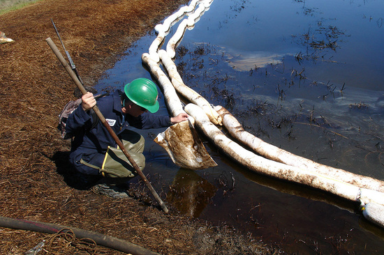 DARRP Habitat Hero Chevron Engineer Inspects Oil Spill.jpg