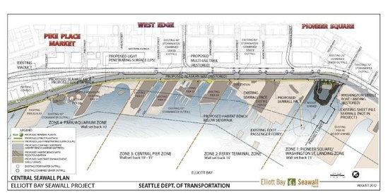 Diagram of seawall project center section
