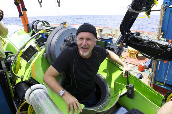 James Cameron in submarine.