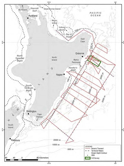 Survey locations off the North Island of New Zealand
