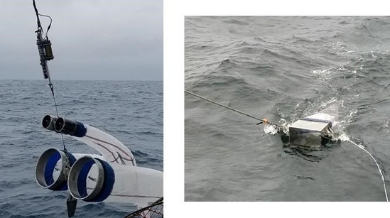 Sampling gear used to collect larval fishes.The bongo (left) collects larval fishes throughout the water column whereas the neuston (right) collects larval fishes concentrated near the sea surface.