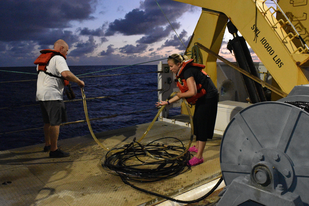 The acoustics team deploys and retrieves the 300 m hydrophone array from behind the ship at least twice a day.