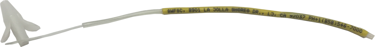 A yellow and white fish tag with a long wire used to tag billfish.