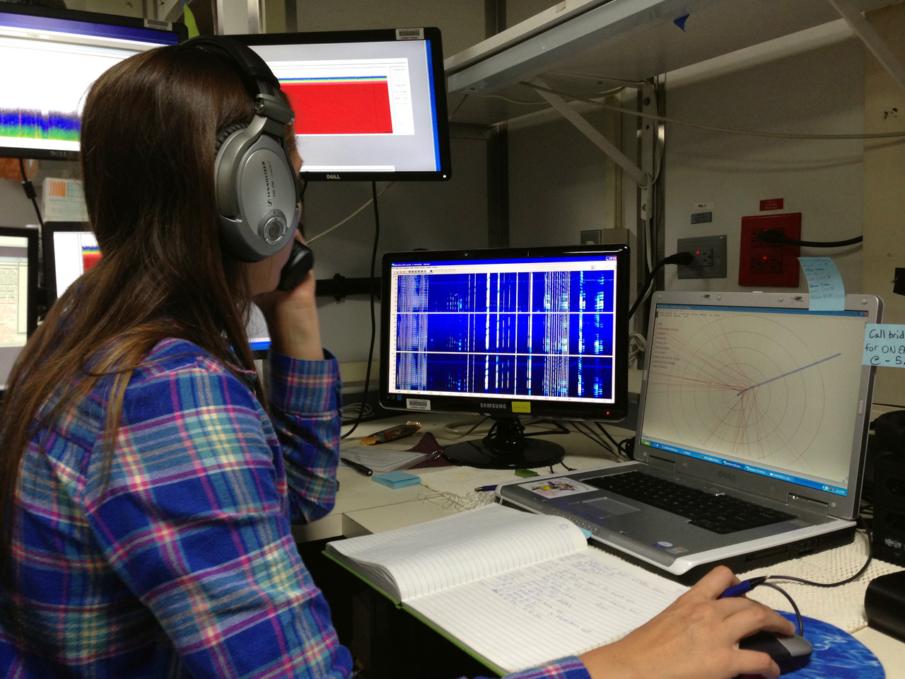 When appropriate, the acoustics team communicates with the visual observers to locate the acoustically-detected cetaceans.