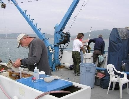 Photo of scientists doing research on a boat.