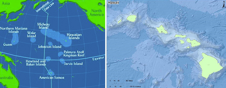 Two maps side-by-side, Pacific Ocean on the left and main Hawaiian Islands on the right.