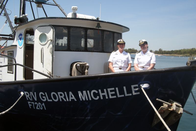 Ensign Shannon Hefferan and Lt Anna-Liza Villard-Howe on board the Gloria Michelle