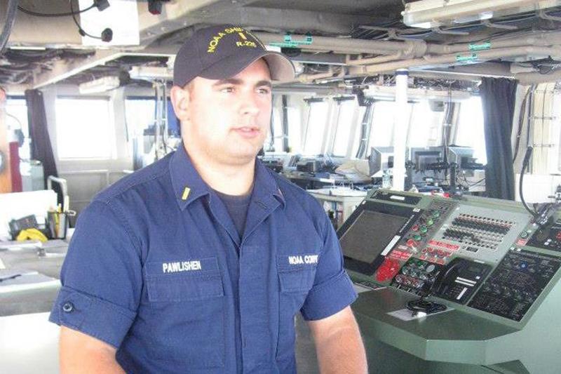 Douglas Pawlishen at instrument panel of ship.