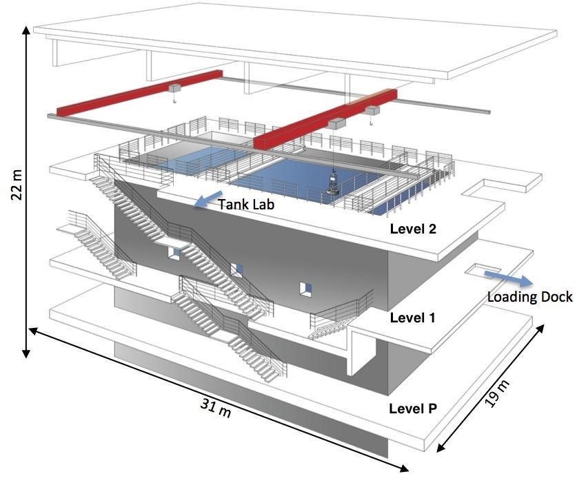 Map of the test tank showing how long, wide, and deep the tank is.