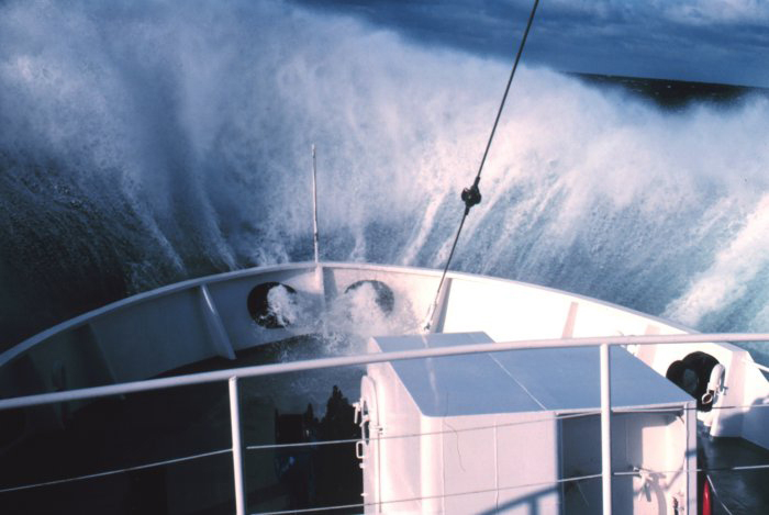 Wave breaking over the bow