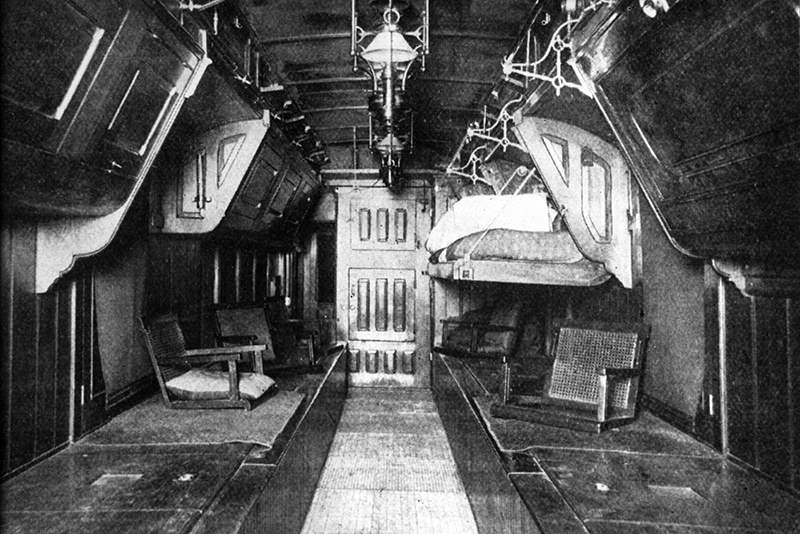 Train car interior for transporting samples.