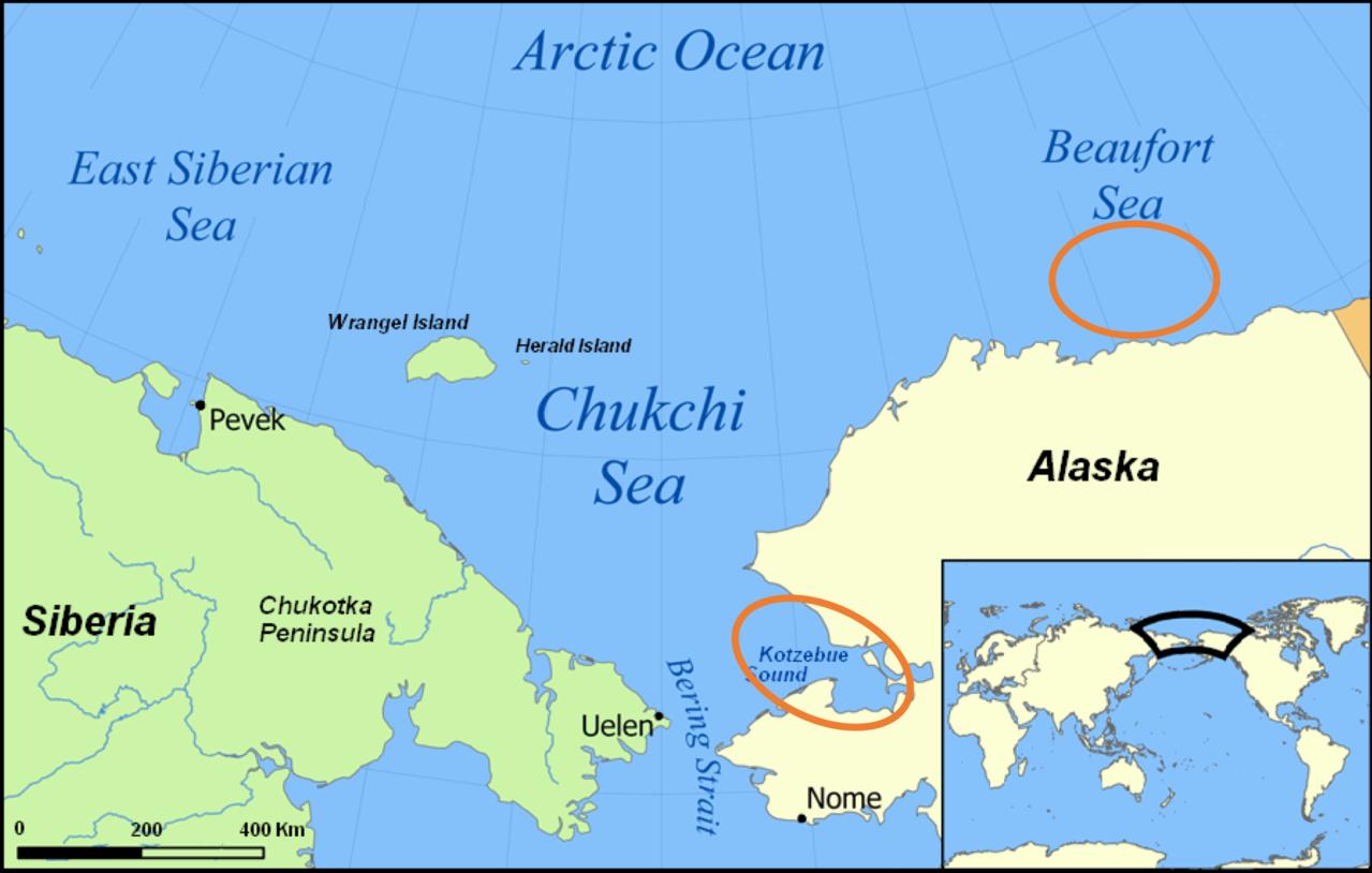 Aerial Survey Test Map (Kotzebue Sound, Chukchi Sea, Beaufort Sea, East Siberian Sea and Arctic Ocean).