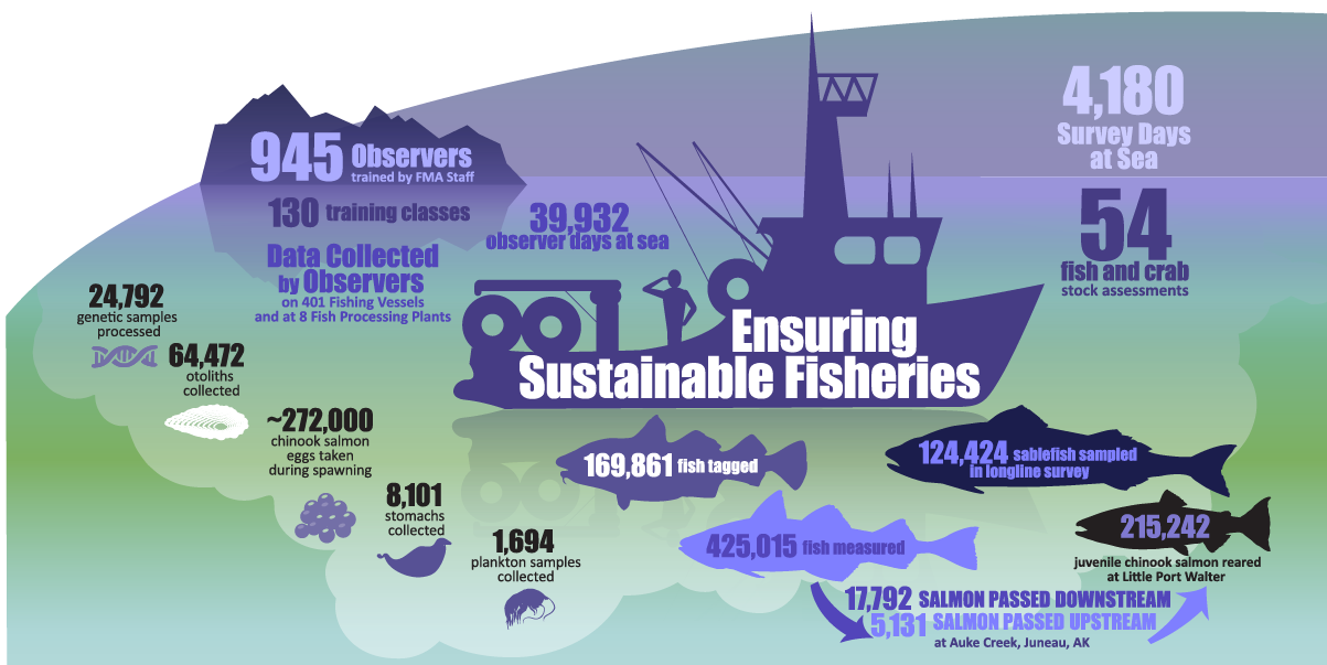 "Alaska Fisheries Science Center 2019 Year in Review infographic ""Ensuring Sustainable Fisheries"""