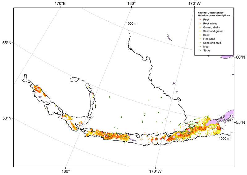 Map of National Ocean Service verbal sediment descriptions.