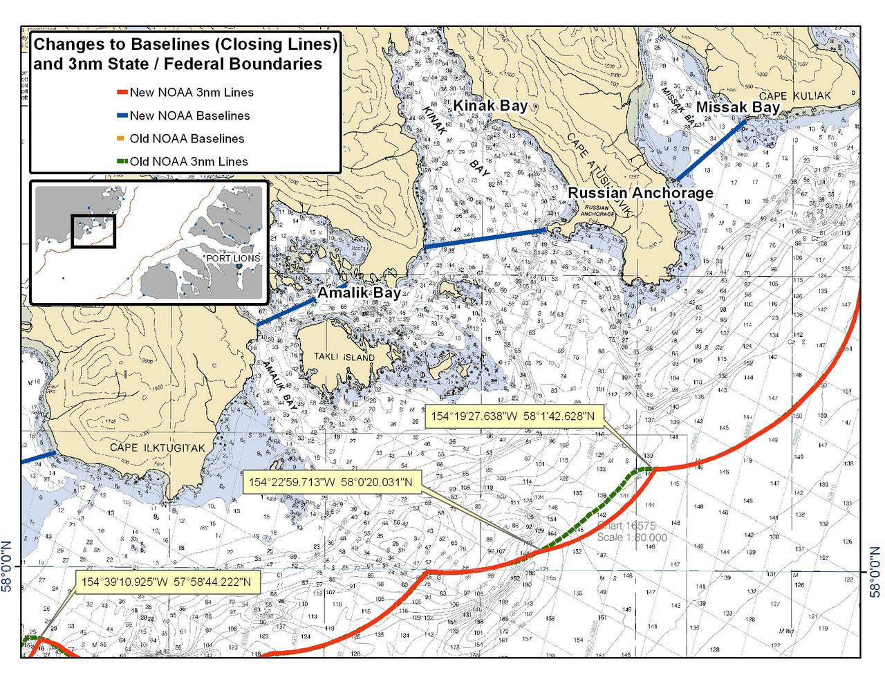 Chart for Amalik Bay and Kinak Bay