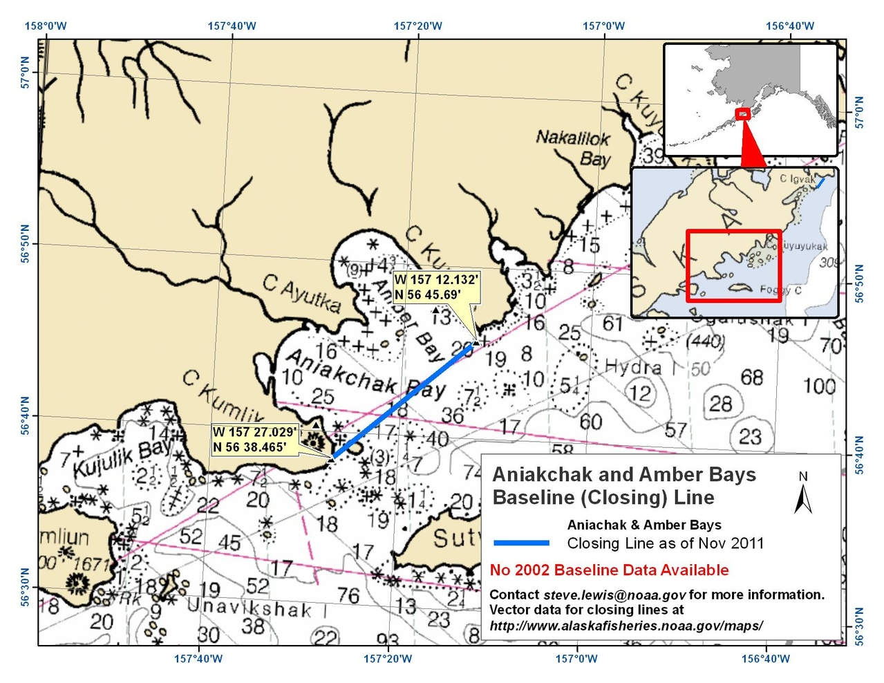 Chart for Amber Bay and Aniakchak Bay