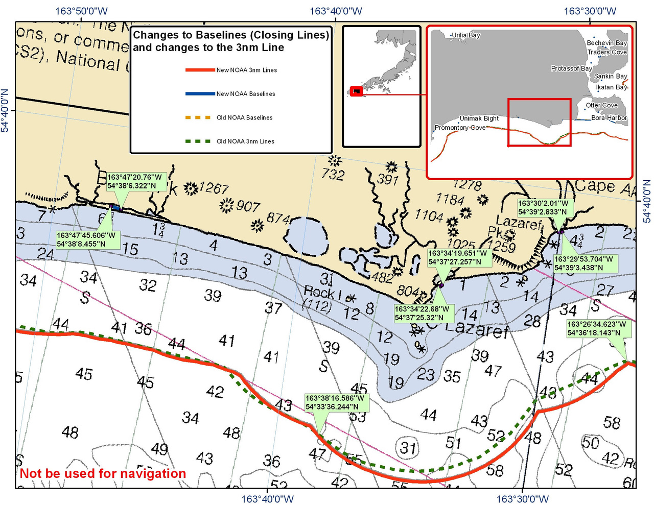 Chart for the Area between Otter Cove and Unimak Bight
