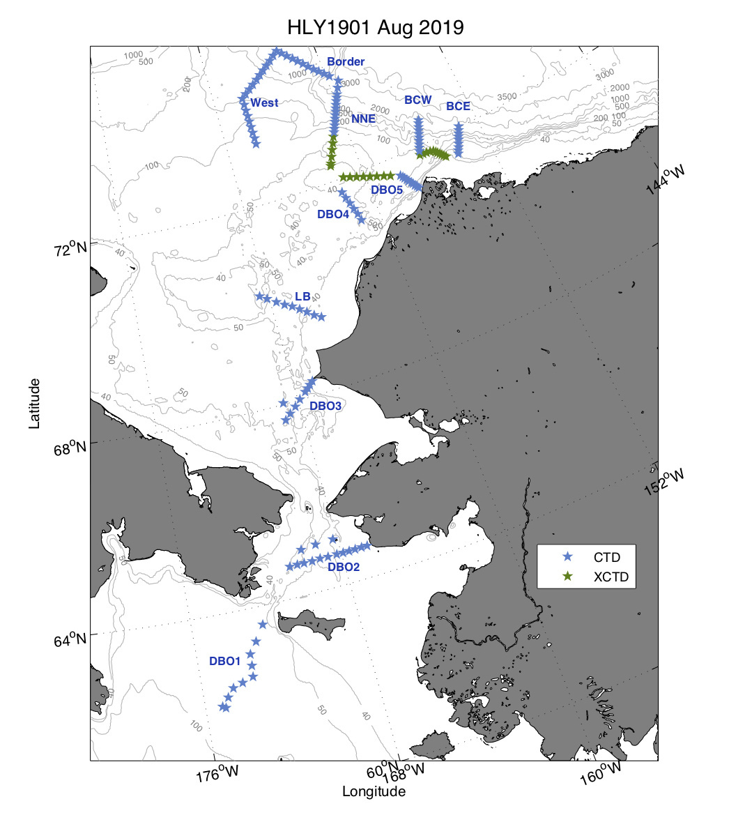 HLY1901 Aug 2019 (map of CTD and XCTD survey locations in the Bering Sea, Chukchi Sea and Beaufort Sea).