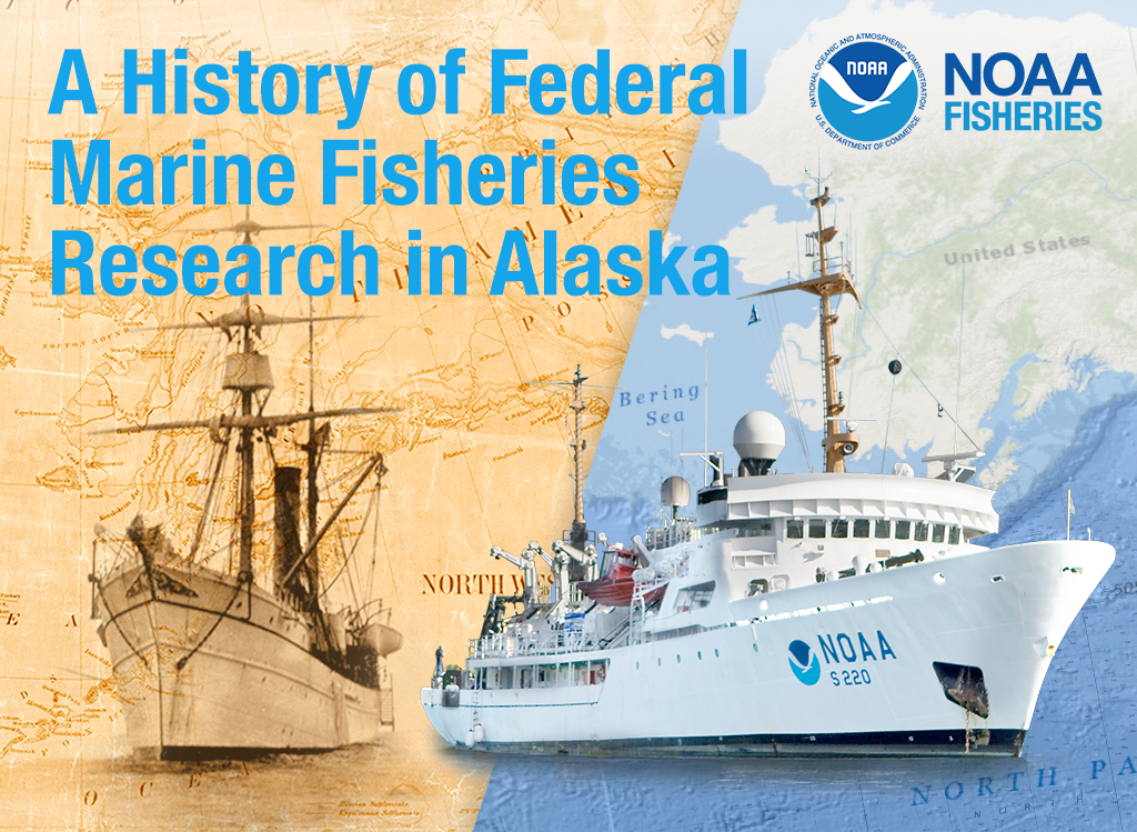 A History of Federal Marine Fisheries Research in Alaska ebook cover, a composite image of old and modern NOAA research vessels.
