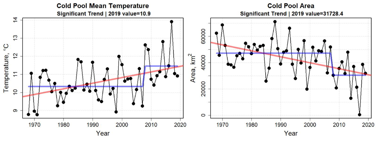 Graphs showing indices of the mean temperature and size of the cold pool from 1968 to 2019. The mean temperature of the cold pool has increased from approximately 10°C to temperatures in excess of 11°C, and also had a step change increase around 2008. The area of the cold pool has been declining over the time series and experienced a step change in conditions around 2008.