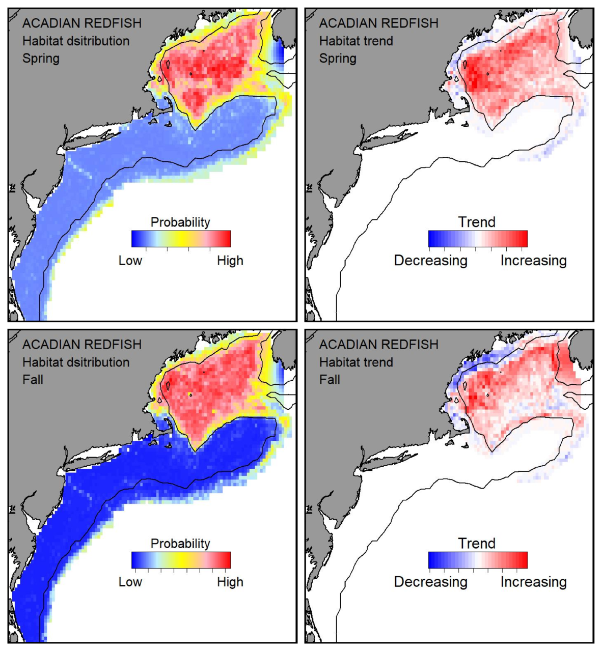 Top row: Probable habitat distribution for Acadian redfish showing the highest concentration and increasing trend in the Gulf of Maine during the spring. Bottom row: Probable habitat distribution for Acadian redfish showing the highest concentration and increasing trend in the Gulf of Maine during the fall.