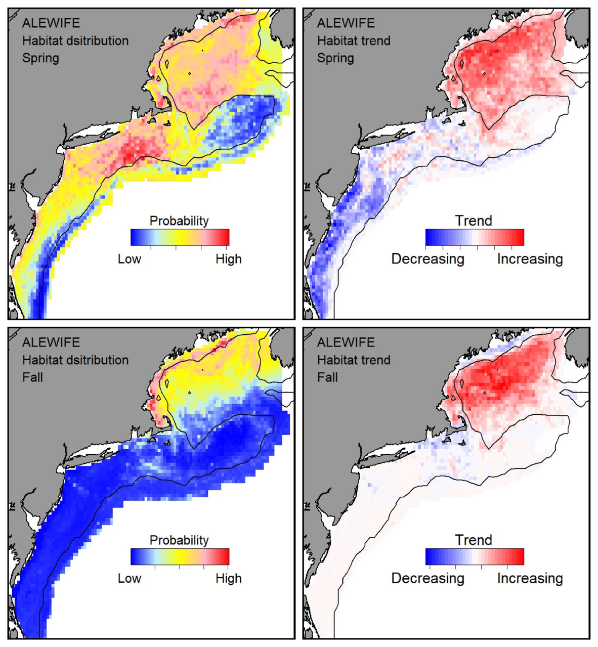 Top row: Probable habitat distribution for alewife showing the highest concentration and increasing trend in the Gulf of Maine during the spring. Bottom row: Probable habitat distribution for alewife showing the highest concentration and increasing trend in the Gulf of Maine during the fall.
