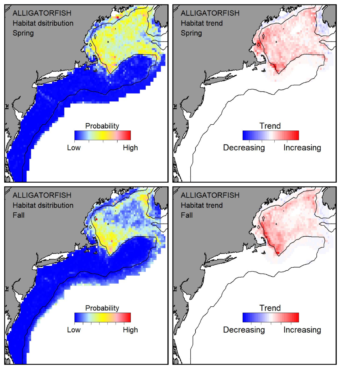 Probable habitat distribution for alligatorfish showing the highest concentration and increasing trend in the Gulf of Maine during the spring. Bottom row: Probable habitat distribution for alligatorfish showing the highest concentration and increasing trend in the Gulf of Maine during the fall.